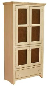 Amish Primitive Pantry Storage Cabinet Farmhouse Cottage Cupboard Tin Doors