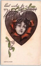 "1911 Holiday Postcard ""Best Wishes for a MERRY CHRISTMAS"" Pretty Lady in Heart"