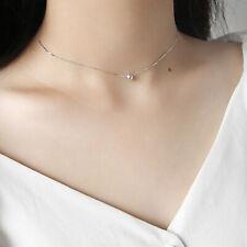 925 Sterling Silver Women Necklace Round Bead Ball Pendant Chain Elegant Choker