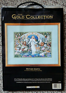 RARE DIMENSIONS GOLD CROSS STITCH KIT MOTHER EARTH 1995 RETIRED NEW