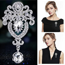 Large Flower Bridal Brooch Rhinestone Crystal Diamante Wedding Silver Broach Pin