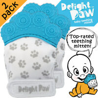 Baby Teething Mitten 2-Pack • Hygienic Pouch • Silicone Teether • BPA Free