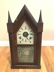 CHAUNCEY JEROME ANTIQUE 1840'S MANTLE GOTHIC STEEPLE CLOCK W/1878 INGRAHAM MOVE.