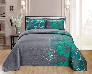 Home Collection Quilt Bedspread Set Over Size Flowers Printed Grey Turquoise Kin
