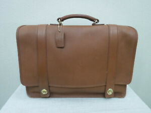 Vtg COACH Tan Leather Large Messenger Bag Briefcase Attache Business Carry All