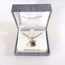 Marcasite Pendant Necklace Silver Plated Setting New In Box