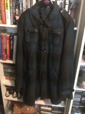 Blue And Black Tartan Check Winter Coat Collared Ladies Vintage Style