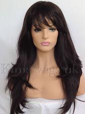 LADIES WOMENS WIG LONG HAIR HEAT RESISTANT LAYERED BLACK BROWN BLONDE RED