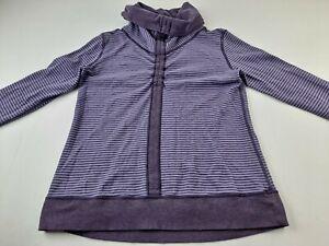 Lululemon In A Cinch Women XS S Purple Reversible Cowl Neck Sweater Pullover V3