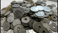 Lote de 50 monedas japonesas 2º guerra mundial 1940-1950 1 5 10 50 sen y 1 yen