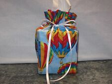 Hot Air Balloons on blue cotton Fabric, Handmade square Tissue Box Cover