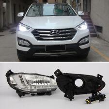 car LED Daytime Running Lights DRL Fog Lamp For Hyundai Santa Fe IX45 2013-2016