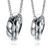 lovers puzzle pendant Necklace Holiday Gifts One pair couples Cz stainless steel
