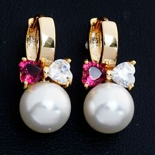 Gift Box Pack Perfect Gold Plated Clear Red Cubic Zircon Bow Pearl Hoop Earrings