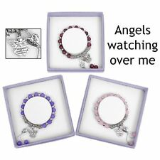 Equilibrium Crystal Silver Plated Guardian Angel Bracelet (red/cranberry)