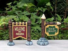 Miniature Dollhouse FAIRY GARDEN ~ MEDIEVAL TIMES Set of 2 Signs WELCOME Dragons