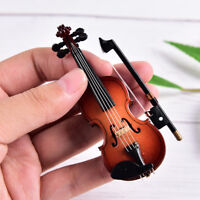 Mini Violin Miniature Musical Instrument Wooden Model with Support and Case SE