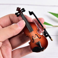 Mini Violin Miniature Musical Instrument Wooden Model with Support and Case FO