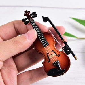 Mini Violin Miniature Musical Instrument Wooden Model with Support and Case H TP