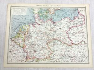 1909 Antique Map of Germany Industrial Commercial Routes Chart George Philip