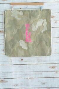 "NWT Set of 2  Williams Sonoma - Green-gray CAMO linen pillow cover ""L"" monogram"