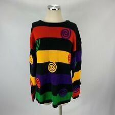 Vtg Rafaella Medium Sweater 1990s Bright Hip Hop