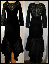STUNNING VINTAGE 80S FRANK USHER FISHTAIL VELVET DRESS GOWN UK 10 12 STEAMPUNK