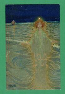 EARLY VINTAGE THEO STROEFER RAPHAEL KIRCHNER ART POSTCARD SEA-LADY STAR NIGHT