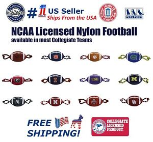 NCAA Nylon Football Pet Toy - Licensed Heavy-duty Tough Dog Rope & Squeaker Toy