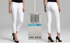 GENETIC KARLIE $187 NEW White Back Scallop Crop Cigarette Jeans 31 L28 QCO