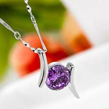 China Wholesale Costume jewelry 925 Silver AAA CZ Fine Pendant Necklace Purple