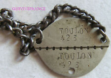 PID088 - PLAQUE IDENTITE DOG TAG  WWII - TOULON - classe 1938
