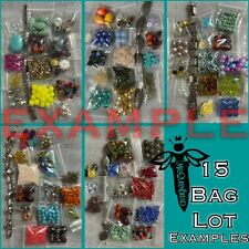 ✨BEADS✨15 Small Bags 🖤 Bead Lot Loose Mixed Glass Acrylic Metal 💋 Read