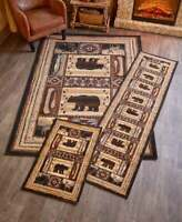 Lodge Accent Runner Area Rug Log Cabin Brown Bear Rustic Living Room Home Decor