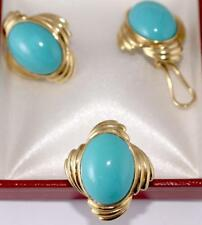 Cabochon Turquoise Ring and Earrings Ear Clips Jewelry Set 14K YG Ring Size 7
