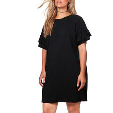 KIssmilk Women Plus Size T-shirt Dress Ruffle Short Sleeve Casual Party Dress 18