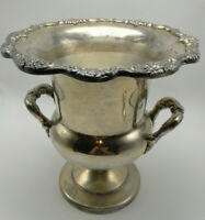 Old Ornate 2 handle Silverplate wine Champagne cooler Ice Bucket a little tilted