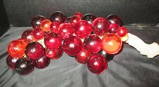 """1960's Red Grape Cluster On Drift Wood Acrylic Lucite 16"""" Long"""