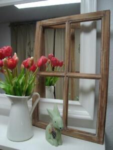 HOME KONTOR Fensterrahmen Fensterladen Holz weiß grau Metall braun Deko Landhaus