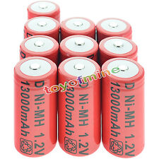 10x D size 1.2V 13000mAh Ni-MH Red Color Rechargeable Battery USA