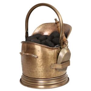 Vintage Brass Coal Bucket Fireside Fuel Scuttle with Shovel & Handle