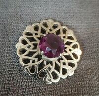 Vintage Scottish Celtic Silvertone & Amethyst Glass Brooch hearts entwined knots