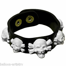 4 Halloween Horror White Gothic Skull Bracelets Party Gifts Treats Loot Favours