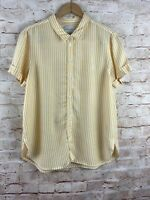 American Eagle Outfitters Womens Yellow White Striped Button Down Top Medium