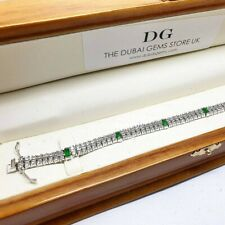 Double Row white gold finish Created Diamond and emerald tennis bracelet