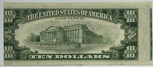 1981 A Misalignment Error on Back $10 Federal Reserve Note Fr. 2026B Misaligned
