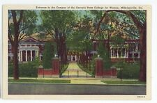Georgia State College for Women Entrance MILLEDGEVILLE GA Vintage Postcard 2