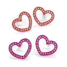 Neon Pink Heart Studs Neon Orange Heart Studs Crystal Diamante Earrings