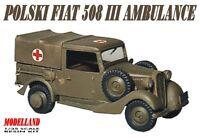 POLSKI FIAT 508 MILITARY AMBULANCE (POLISH ARMY MKGS 1939) 1/35 MODELLAND
