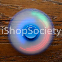 LED Tri Spinner Fidget Spinners EDC Figet Hand Desk Focus Toy ADHD -USA- BLUE